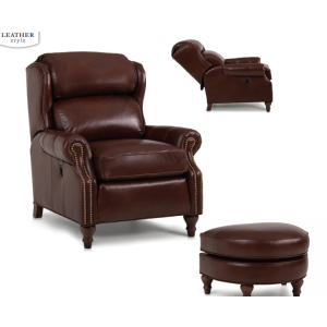 Leather Tiltback Chair & Ottoman