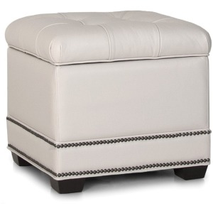 Leather Storage Ottoman w/Tapered Leg