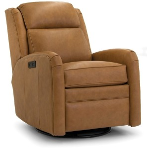 Leather Motorized Swivel Glider Reclining Chair with Headrest