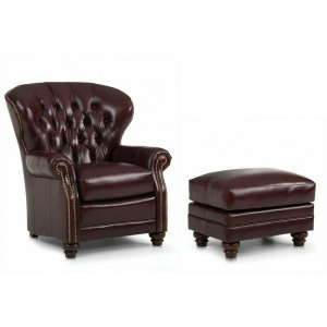 Leather Stationary Chair & Ottoman