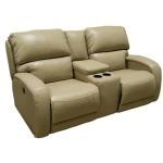 Fandango Double Reclining Sofa w/Console & Power Headrest w/SoCozi