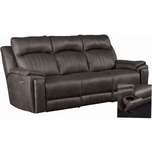 Silver Screen Power Headrest Double Reclining Sofa w/ Arm Cupholders & SoCozi