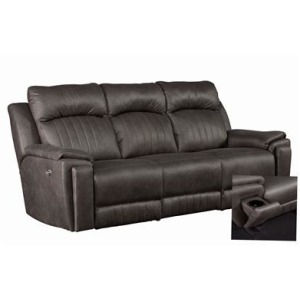Silver Screen Power Headrest Sofa with Arm Cupholders
