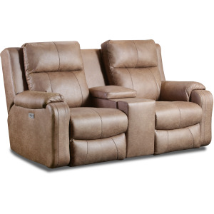 Contour Power Headrest Loveseat with Console & Hidden Cupholders w/SoCozi