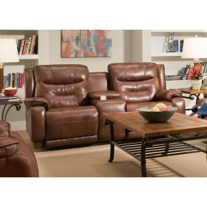 Cresent Double Reclining Console Sofa