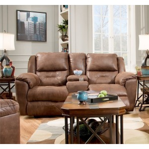 Pandora Double Reclining Console Sofa w/Power Headrest