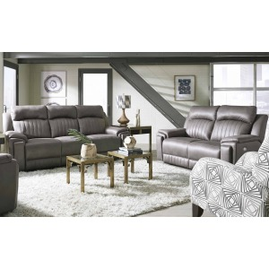 Silver Screen Power Headrest Double Reclining Sofa & Loveseat Set w/ Arm Cupholders & SoCozi