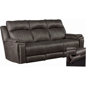 Silver Screen Double Reclining Sofa w/Arm Cupholders & PowerPlus