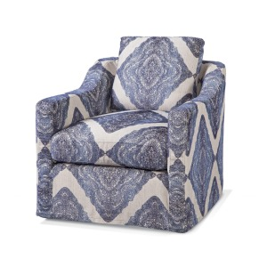 Erica Swivel Chair - Mendhi Diamond Indigo