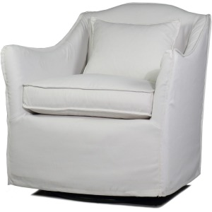 Keith Slipcover Swivel Glider Chair - Twill White