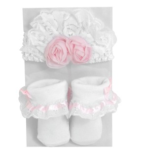 0-6mo Shabby Rose Headband & Socks Set