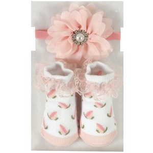 Pale Pink Jewel Headband & Sock Set
