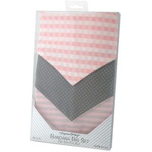 Pink/Gray Three-Piece Bandana Bib Set