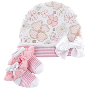 Playful Posies Cap & Sock Set, Newborn