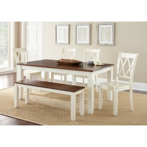 Aida Two Tone Table, Brown/Vanilla