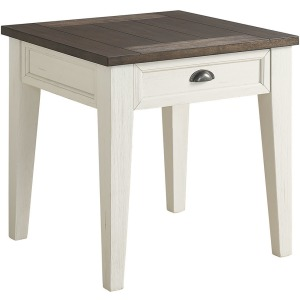 Cayla End Table - Dark Oak/White