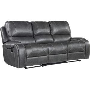 Keily Manual Reclining Sofa w/Dropdown Table, Grey