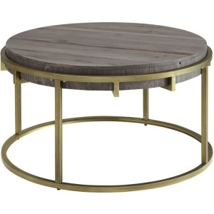Samuel Round Cocktail Table w/Reclaimed Fir Wood Top