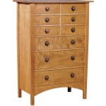 Harvey Ellis Nine Drawer Chest - Cherry w/Curly Maple Drawer Fronts