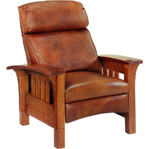 Bow Arm Morris Bustle Back Leather Recliner - Oak