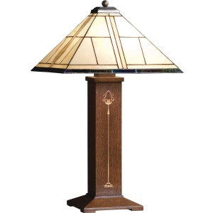 Ellis Table Lamp - Oak w/ Art Glass Shade