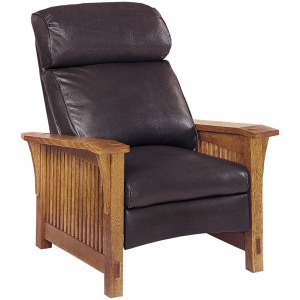 Spindle Morris Recliner - Leather Bustle Back Oak