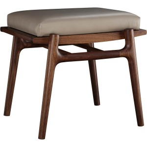 Walnut Grove Footstool - Salvador Dove Leather