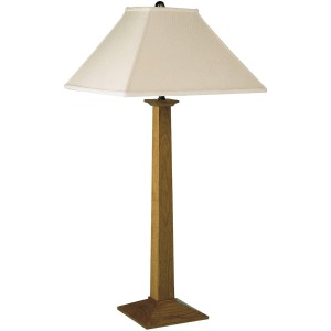 Square Base Table Lamp - Linen & Oak