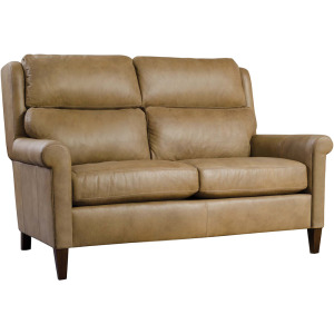 "Woodlands 61"" Leather Sock Arm Loveseat"