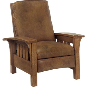 Bow Arm Morris Recliner Straight Back Leather - Oak