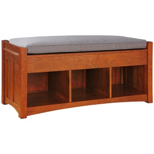 Loose Cushion Storage Bench - Cherry