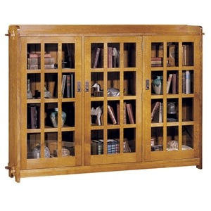 Triple Bookcase with Glass Doors