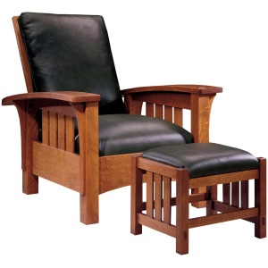 Bow Arm Morris Chair & Footstool -Oak