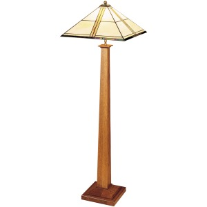Square Base Floor Lamp - Art Glass & Cherry Oak