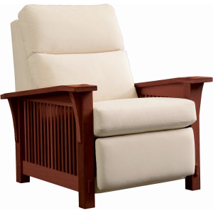 Spindle Morris Wall Recliner w/Bustle Back Upholstery  - Oak