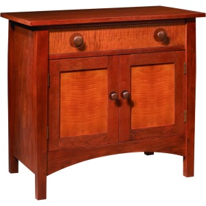 Harvey Ellis Door Night Stand -Cherry w/Curly Maple Fronts