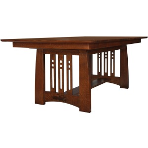 Highlands Trestle Table w/2 Leaves - Oak