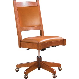 Leather Back Armless Swivel Chair