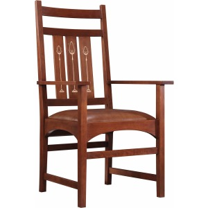 Harvey Ellis Arm Chair, with Inlay - Oak