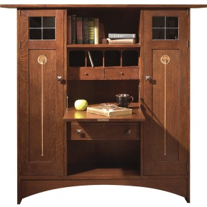 Ellis Fall Front Bookcase w/Wood Doors
