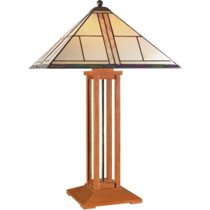 Table Lamp - Art Glass & Oak