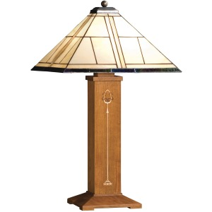 Ellis Table Lamp - Oak w/ Art Glass Shade - Cherry