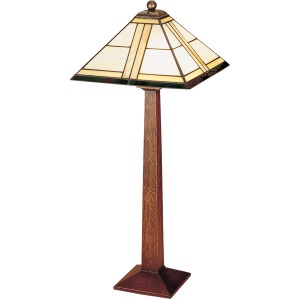 Square Base Table Lamp - Art Glass & Oak