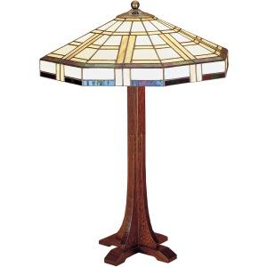 Cross Base Table Lamp - Art Glass