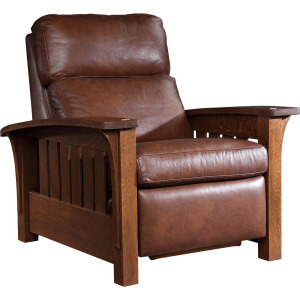 Bow Arm Morris Wall Recliner - Cherry - Bustle Back Leather