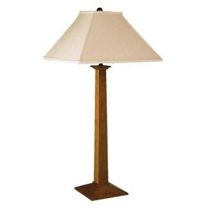 Square Base Table Lamp - Linen & Cherry