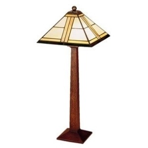Square Base Table Lamp - Art Glass & Cherry