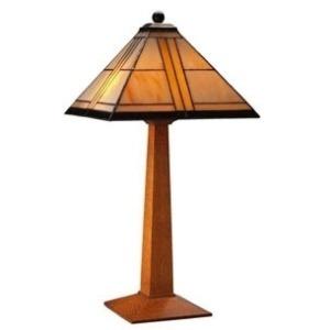 Table Lamp - Art Glass & Cherry