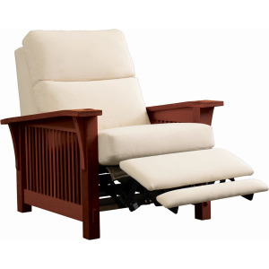 Spindle Morris Wall Recliner w/Bustle Back Upholstery - Cherry