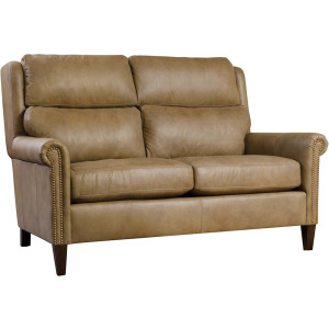 "Woodlands 61"" Small Roll Arm Loveseat - Leather"